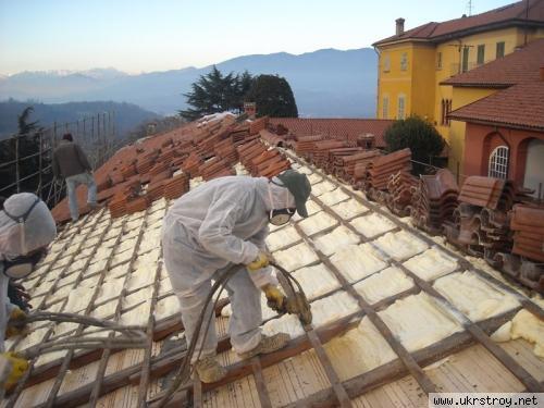 Утепление крыши дома пенополиуретаном, пгт Лужаны